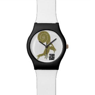 Relógio branco do ano impar da cabra dos carneiros
