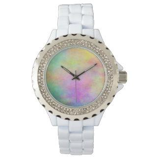 Relógio branco do cristal de rocha do esmalte do