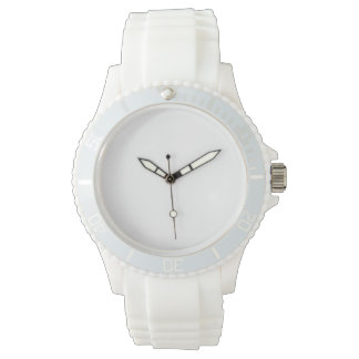 Relógio branco do silicone do esporte das mulheres
