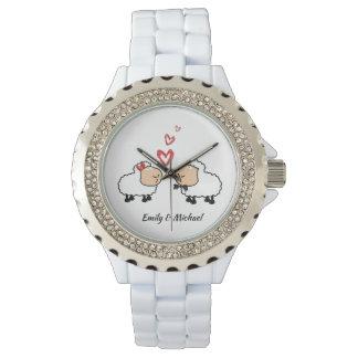 Relógio Carneiros engraçados bonitos alegres adoráveis no