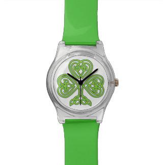 Relógio celta verde do trevo