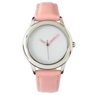 Relógio cor-de-rosa de aço inoxidável da correia