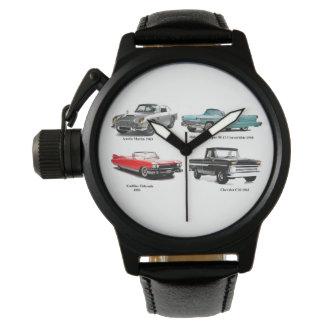 Relógio Coroa-Protetor-Preto-Couro clássico da imagem do