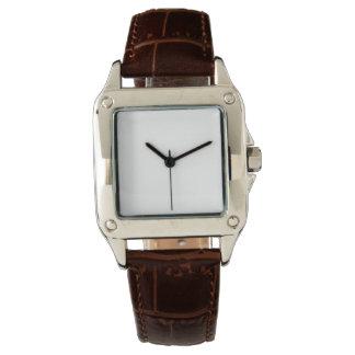 Relógio da correia de couro de Brown do quadrado