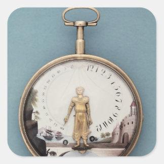 Relógio de bolso sutiã-en-l'air encaixotado ouro adesivo em forma quadrada