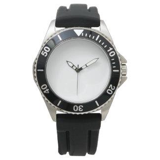 Relógio de borracha preto de aço inoxidável da