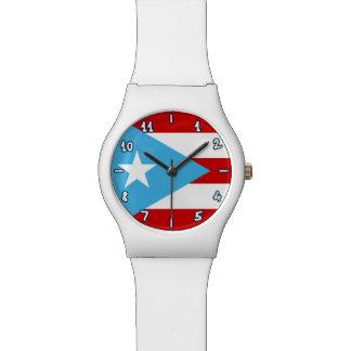 Relógio De Pulso Bandeira lunática de Puerto Rico: Azul-céu