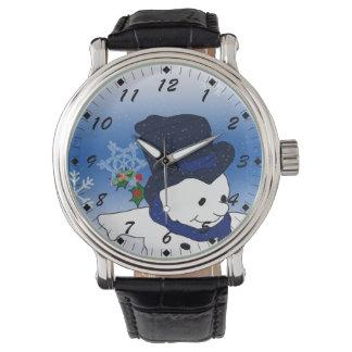 Relógio De Pulso Boneco de neve de patinagem no azul