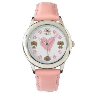 Relógio De Pulso Cães de filhote de cachorro bonitos, impressões