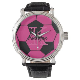 Relógio de pulso cor-de-rosa personalizado do