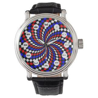 Relógio De Pulso Espiral azul branca vermelha de Chr (maia) por