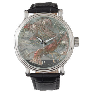 Relógio De Pulso Lagostas de Nouveau da arte do vintage no oceano