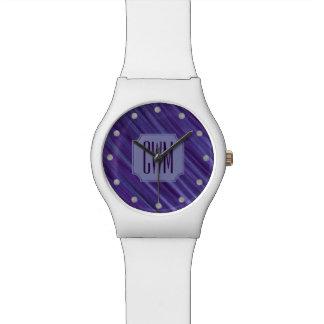 Relogio De Pulso Lilac violeta roxo do monograma indiferente de