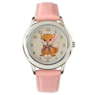 Relógio De Pulso Raposa bonito do outono e nome do costume