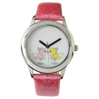 Relógio De Pulso Raposas bonitos em desenhos animados do amor
