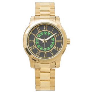 Relógio De Pulso Trevos irlandeses do verde do espírito