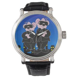 Relógio De Pulso URSOS no couro PRETO do vintage do preto dos