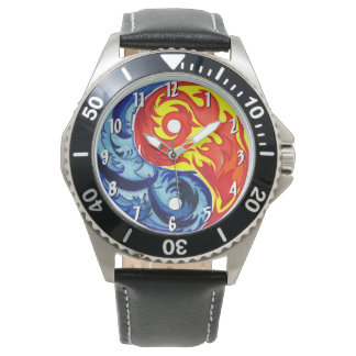 Relógio de Yin-Yang do fogo e do gelo