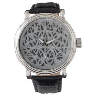 Relógio decorativo do couro do preto da grelha do