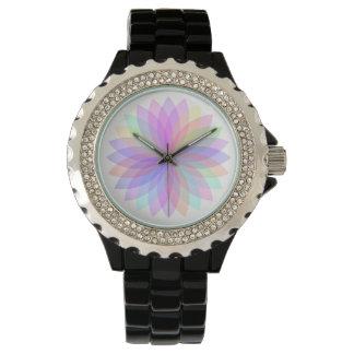 Relógio do esmalte do preto da flor do arco-íris