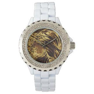 Relógio do impressão do safari das listras do