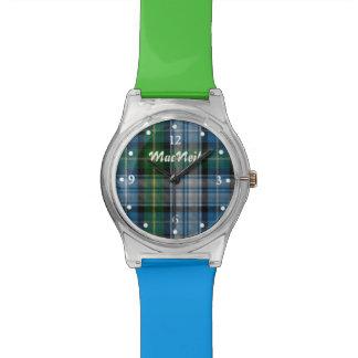 Relógio feito sob encomenda verde e azul da xadrez