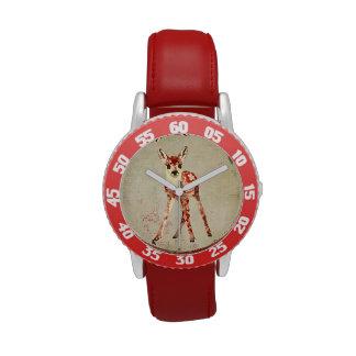 Relógio floral tropical da jovem corça do vintage