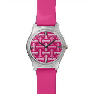 Relógio Fricção chinesa do art deco, rosa do fúcsia