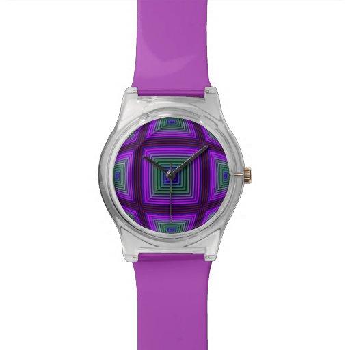 Relógio geométrico azul verde roxo