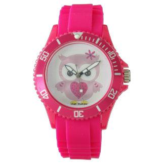 Relógio gráfico da coruja cor-de-rosa