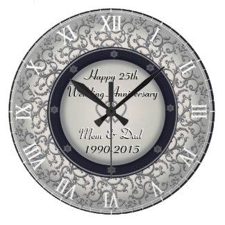 Relógio Grande 25o Aniversário de casamento de prata