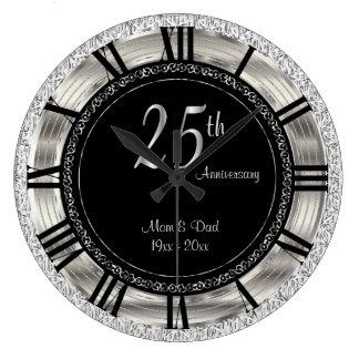 Relógio Grande 25o aniversário de prata elegante