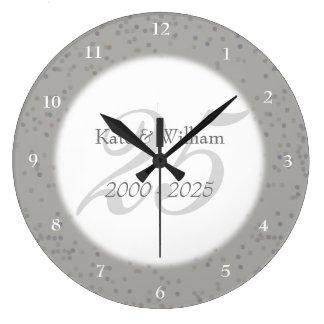 Relógio Grande 25o Confetes de Stardust da prata do aniversário
