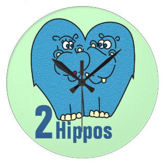 Relógio Grande 2 hipopótamos no pulso de disparo de parede bonito