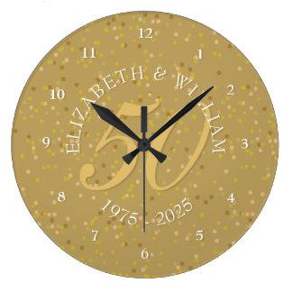 Relógio Grande 50th Confetes da poeira de ouro do aniversário de