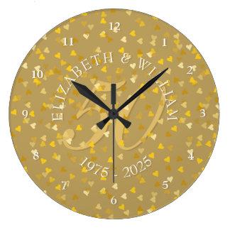 Relógio Grande 50th Confetes dos corações do ouro do aniversário