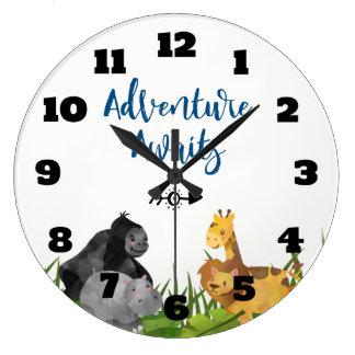 Relógio Grande A aventura animal da ilustração da selva do safari