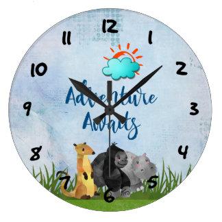 Relógio Grande A aventura espera - hipopótamo e Meerkat do gorila