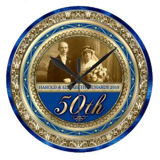 Relógio Grande Azuis marinhos do ouro da foto do aniversário de