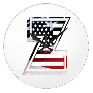 Relógio Grande Bandeira patriótica dos EUA da inicial do