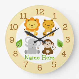 Relógio Grande Berçário bonito do animal da selva do safari