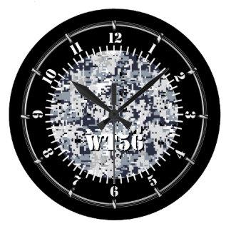 Relógio Grande Camuflagem cinzenta urbana personalizada em a