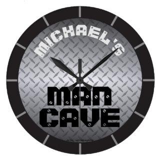 Relógio Grande Caverna personalizada do homem de Diamondplate
