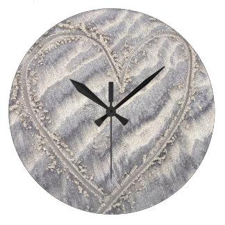 Relógio Grande Coração na areia, pulso de disparo textured da