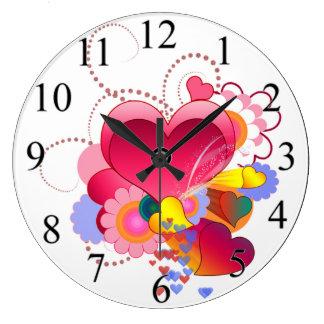 Relógio Grande Corações e flores