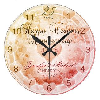 Relógio Grande Costume alguns corações do aniversário de