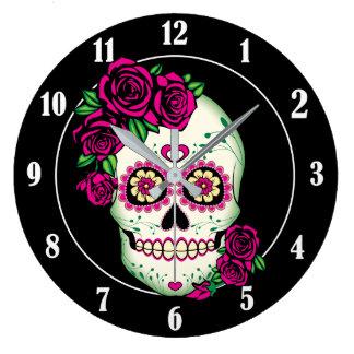 Relógio Grande Crânio do açúcar com rosas