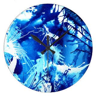 Relógio Grande Design azul bonito da arte abstracta das tintas do
