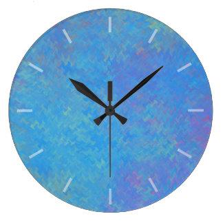 Relógio Grande Design bonito do papel marmoreado do azul