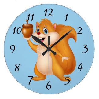 Relógio Grande Esquilo dos desenhos animados com bolota